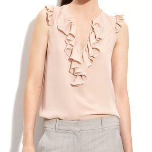 Theory Nalena Blush Silk Ruffles Blouse Top